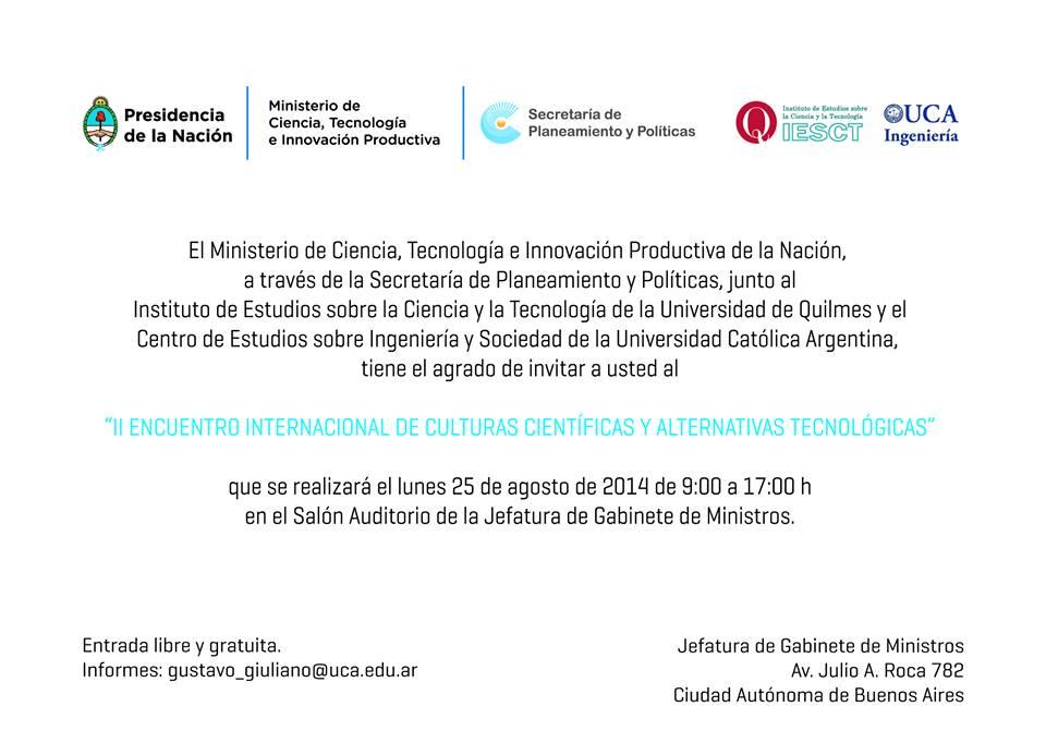 II Encuentro Internacional de Culturas Científicas y Alternativas Tecnológicas